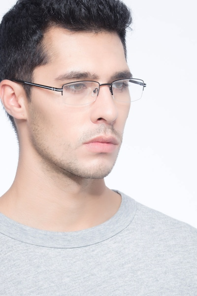 Brian Black Metal Eyeglass Frames for Men from EyeBuyDirect, Front View