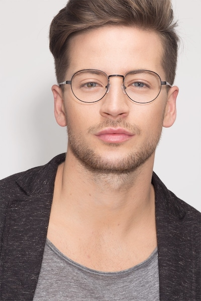 Belleville Matte Black  Metal Eyeglass Frames for Men from EyeBuyDirect, Front View