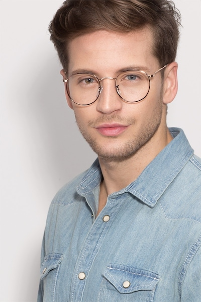 Daydream Brown/Golden Metal Eyeglass Frames for Men from EyeBuyDirect, Front View