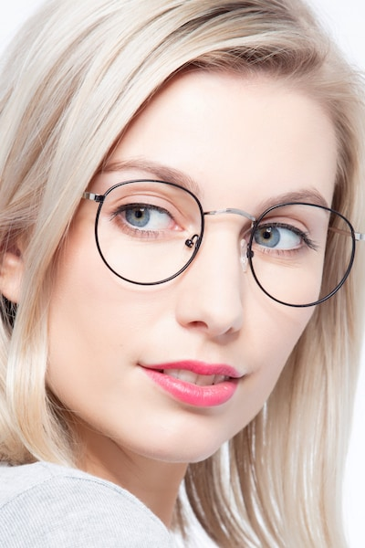 Daydream Black/Silver Metal Eyeglass Frames for Women from EyeBuyDirect