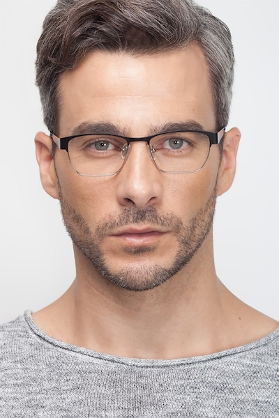 Admire Black Silver Metal Eyeglass Frames for Men from EyeBuyDirect