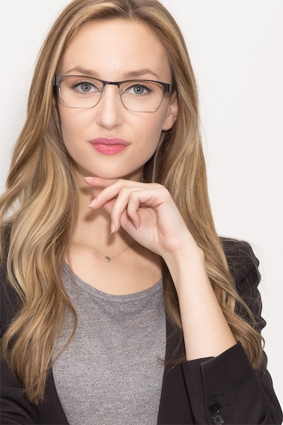 Admire Black Silver Metal Eyeglass Frames for Women from EyeBuyDirect, Front View