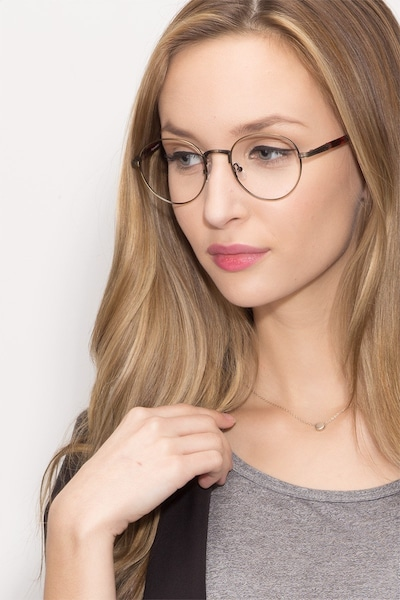 Fitzgerald Bronze Metal Eyeglass Frames for Women from EyeBuyDirect, Front View