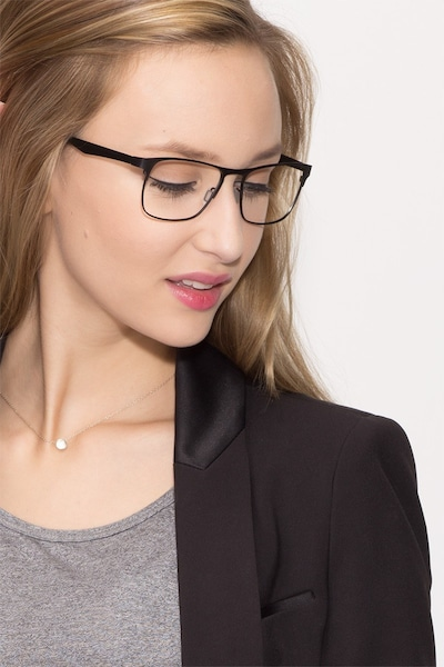 Bethnal Green Black Metal Eyeglass Frames for Women from EyeBuyDirect, Front View