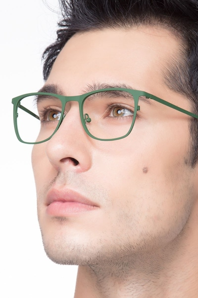 Whisper Matte Green Metal Eyeglass Frames for Men from EyeBuyDirect