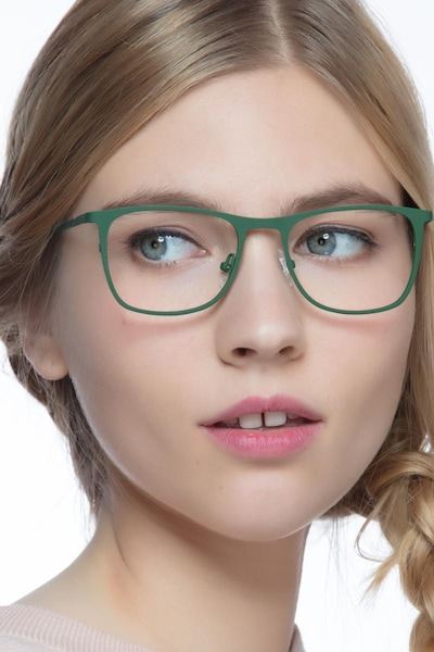 Whisper Matte Green Metal Eyeglass Frames for Women from EyeBuyDirect