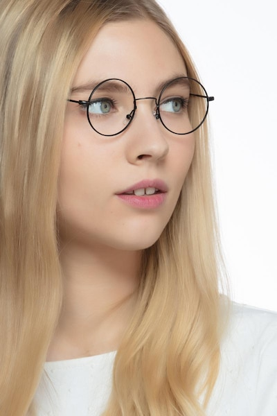 Someday Black Metal Eyeglass Frames for Women from EyeBuyDirect, Front View