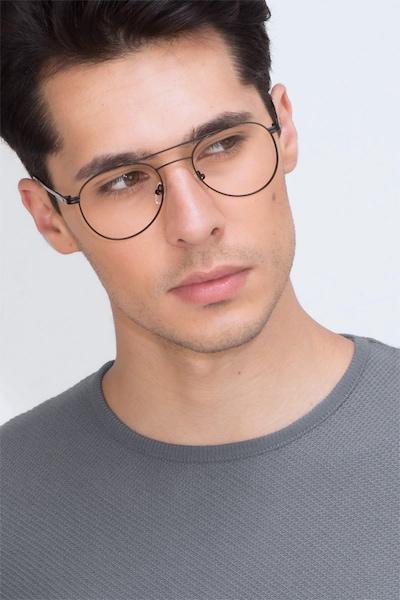 Alibi Black Metal Eyeglass Frames for Men from EyeBuyDirect, Front View