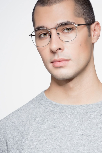 St Michel Gunmetal Metal Eyeglass Frames for Men from EyeBuyDirect, Front View