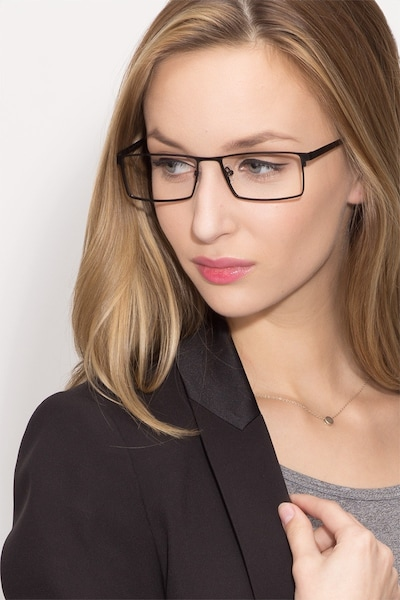 Herald Black Metal Eyeglass Frames for Women from EyeBuyDirect, Front View