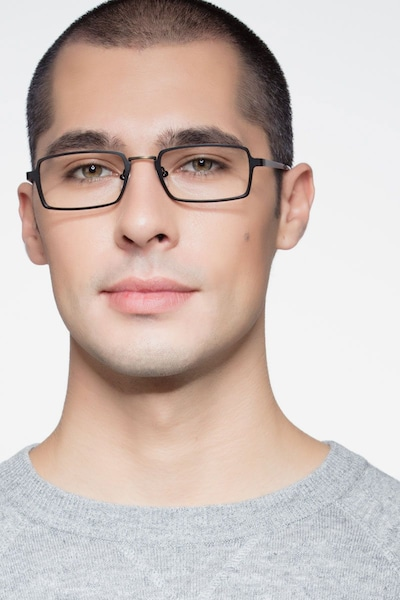 Venturi Black Metal Eyeglass Frames for Men from EyeBuyDirect, Front View