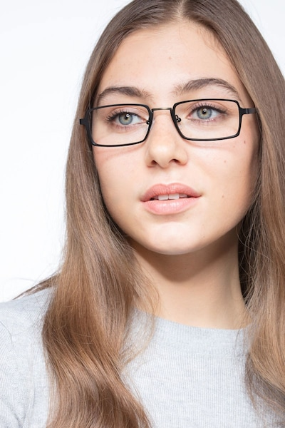 Venturi Black Metal Eyeglass Frames for Women from EyeBuyDirect, Front View