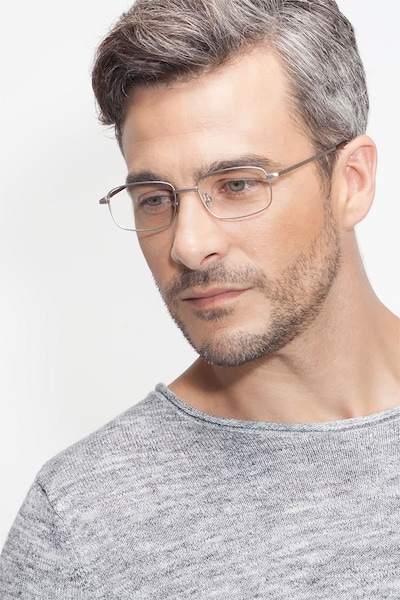 Bryce Silver Metal Eyeglass Frames for Men from EyeBuyDirect, Front View