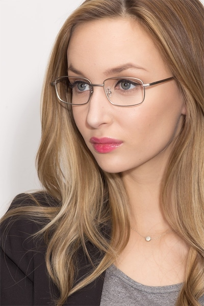 Bryce Silver Metal Eyeglass Frames for Women from EyeBuyDirect, Front View
