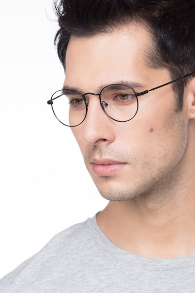 Cupertino Black Metal Eyeglass Frames for Men from EyeBuyDirect, Front View