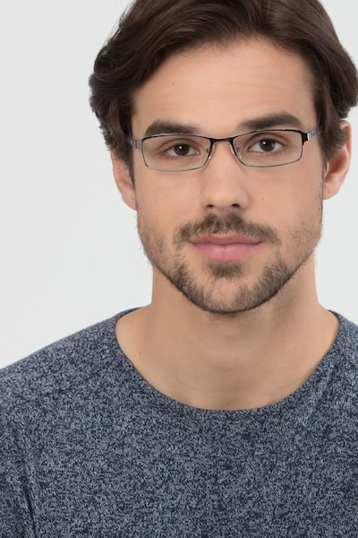 Olsen Gunmetal Metal Eyeglass Frames for Men from EyeBuyDirect, Front View