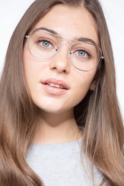 Harrier Gunmetal Metal Eyeglass Frames for Women from EyeBuyDirect, Front View