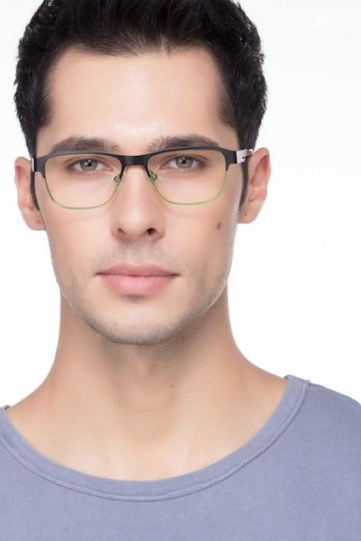 Python Black Metal Eyeglass Frames for Men from EyeBuyDirect, Front View
