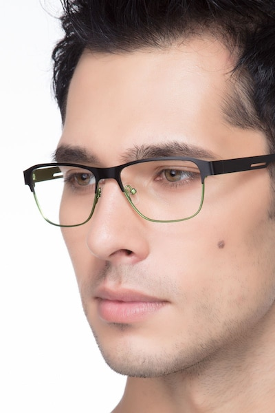 Python Black Metal Eyeglass Frames for Men from EyeBuyDirect
