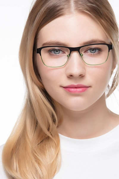 Python Black Metal Eyeglass Frames for Women from EyeBuyDirect, Front View