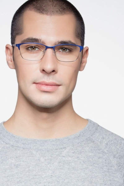 Cascade Blue Metal Eyeglass Frames for Men from EyeBuyDirect, Front View