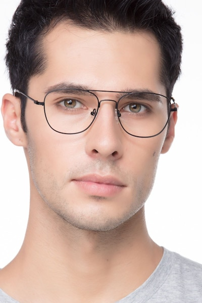 Captain Black Metal Eyeglass Frames for Men from EyeBuyDirect, Front View