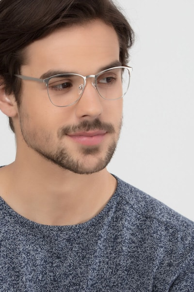 Ember Silver Metal Eyeglass Frames for Men from EyeBuyDirect, Front View