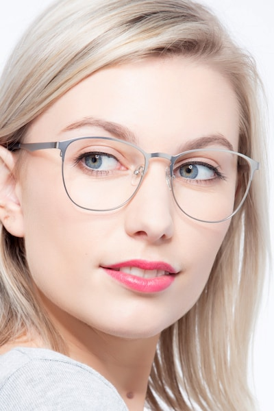Ember Silver Metal Eyeglass Frames for Women from EyeBuyDirect