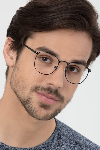 St Michel Black Metal Eyeglass Frames for Men from EyeBuyDirect