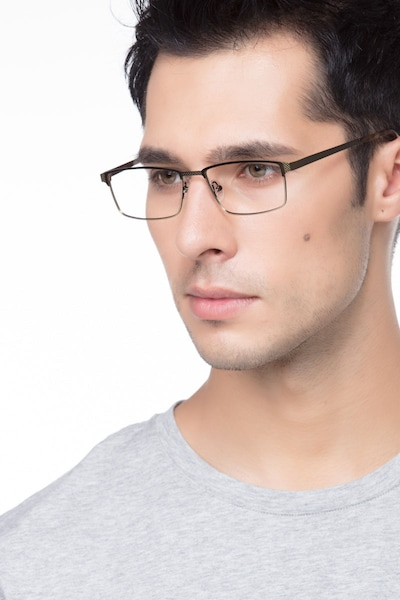 Prime Green Bronze Metal Eyeglass Frames for Men from EyeBuyDirect, Front View