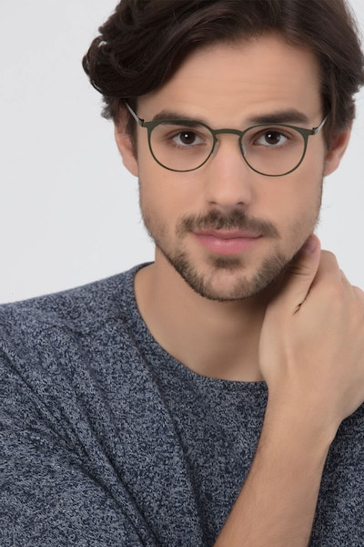 Radius Green Metal Eyeglass Frames for Men from EyeBuyDirect