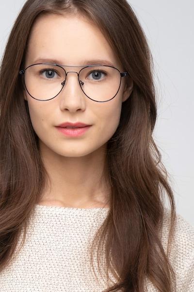 Westbound Dark Navy Metal Eyeglass Frames for Women from EyeBuyDirect, Front View
