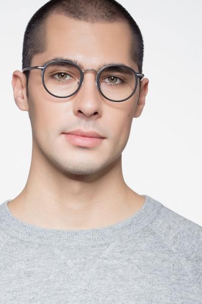 Carnival Matte Black Metal Eyeglass Frames for Men from EyeBuyDirect, Front View