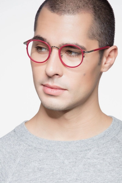 Carnival Matte Red Metal Eyeglass Frames for Men from EyeBuyDirect, Front View