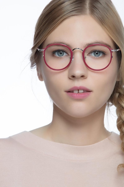 Carnival Matte Red Metal Eyeglass Frames for Women from EyeBuyDirect, Front View