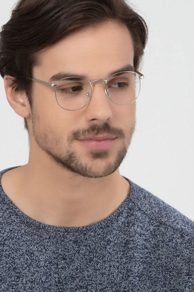 St Michel Silver Metal Eyeglass Frames for Men from EyeBuyDirect, Front View