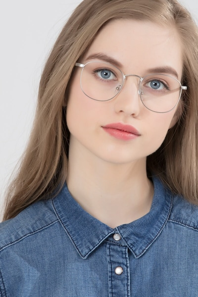 St Michel Silver Metal Eyeglass Frames for Women from EyeBuyDirect, Front View