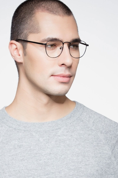 St Michel Black  Metal Eyeglass Frames for Men from EyeBuyDirect, Front View