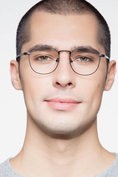 St Michel Black  Metal Eyeglass Frames for Men from EyeBuyDirect