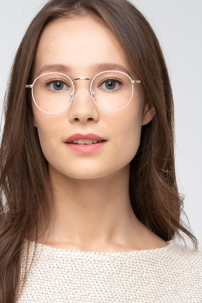 Wistful Matte Pink Metal Eyeglass Frames for Women from EyeBuyDirect, Front View