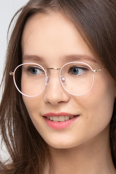 Wistful Matte Pink Metal Eyeglass Frames for Women from EyeBuyDirect