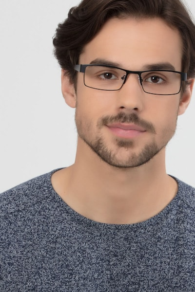 Blaise Black Metal Eyeglass Frames for Men from EyeBuyDirect, Front View