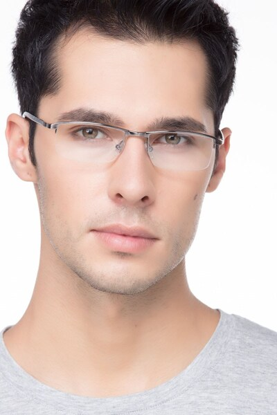 Mel  Silver  Metal Eyeglass Frames for Men from EyeBuyDirect, Front View