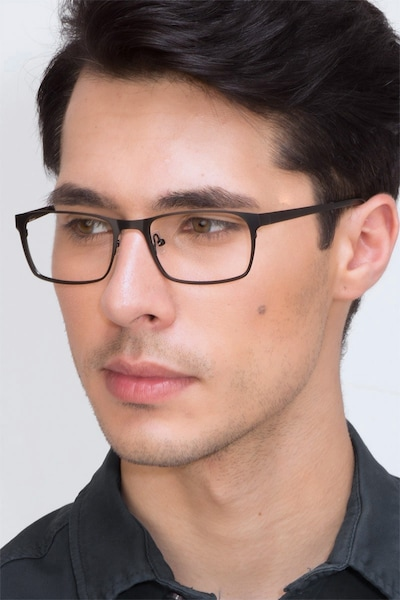 Dublin Matte Black Metal Eyeglass Frames for Men from EyeBuyDirect