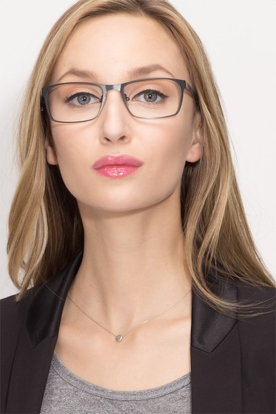 Dublin Matte Black Metal Eyeglass Frames for Women from EyeBuyDirect, Front View