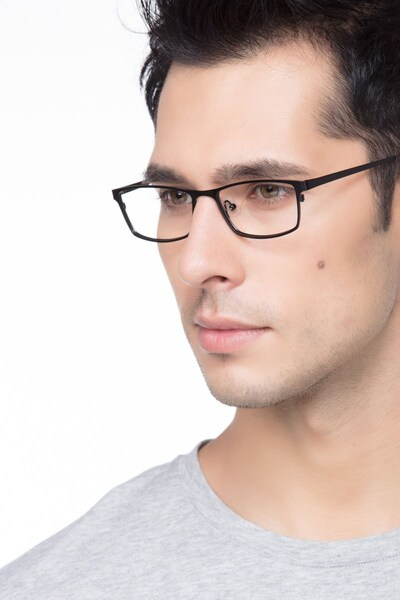 Germantown  Black  Metal Eyeglass Frames for Men from EyeBuyDirect, Front View
