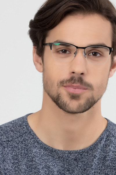 Time Green Metal Eyeglass Frames for Men from EyeBuyDirect, Front View