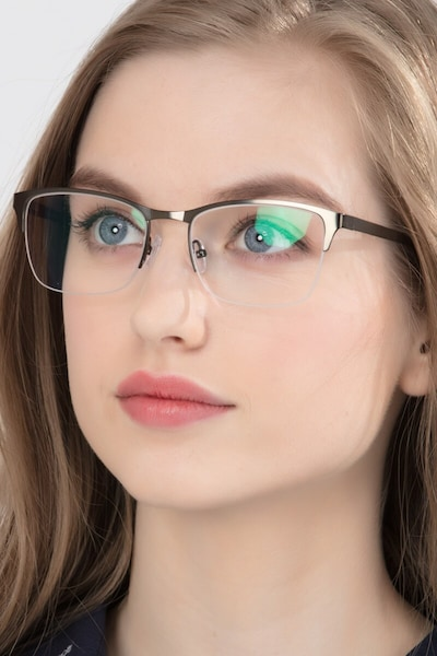 Time Green Metal Eyeglass Frames for Women from EyeBuyDirect