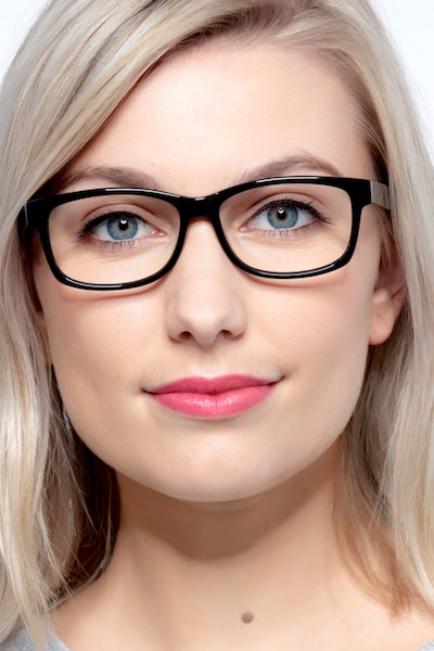 Kyle Black Acetate Eyeglass Frames for Women from EyeBuyDirect, Front View