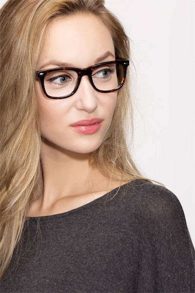Sam Tortoise Acetate Eyeglass Frames for Women from EyeBuyDirect, Front View